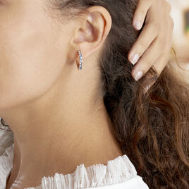 Créoles Zoelia Rondes Plaque Or Jaune Oxyde De Zirconium - Boucles d'oreilles créoles Femme | Histoire d'Or