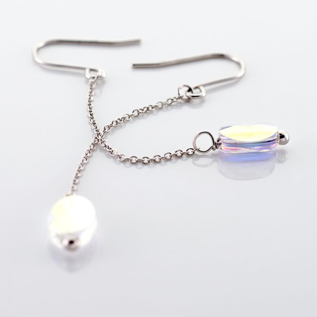 Boucles D'oreilles Pendantes Sirene Argent Blanc Cristaux De Swarovski - Boucles d'oreilles fantaisie Femme | Histoire d'Or
